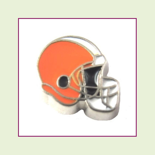 Football Helmet - Orange with White Stripe (Silver Base) Floating Charm