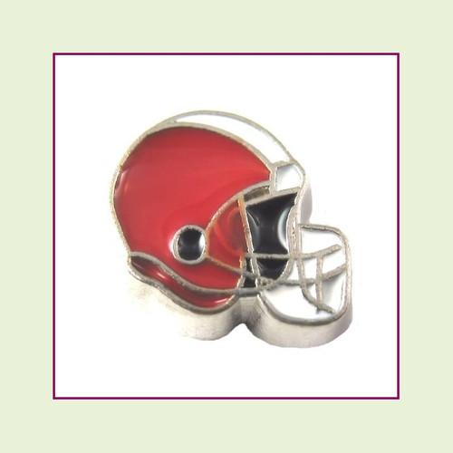 Football Helmet - Burnt Orange with White Stripe (Silver Base) Floating Charm