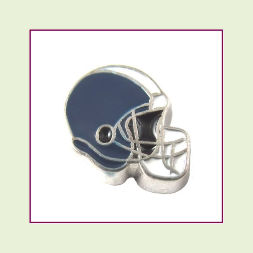 Football Helmet - Navy Blue with White Stripe (Silver Base) Floating Charm