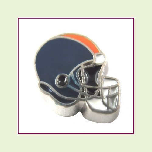 Football Helmet - Navy Blue with Orange Stripe (Silver Base) Floating Charm