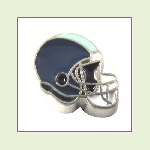Football Helmet - Navy Blue with Lime Green Stripe (Silver Base) Floating Charm