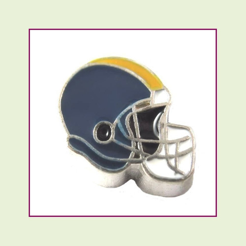 Football Helmet - Navy Blue with Gold Stripe (Silver Base) Floating Charm