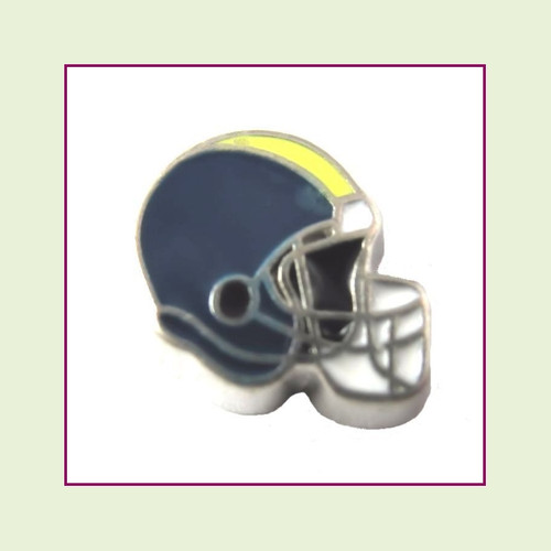 Football Helmet - Navy Blue with Yellow Stripe (Silver Base) Floating Charm