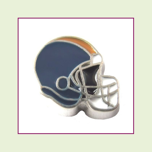 Football Helmet - Navy Blue with Tan Stripe (Silver Base) Floating Charm