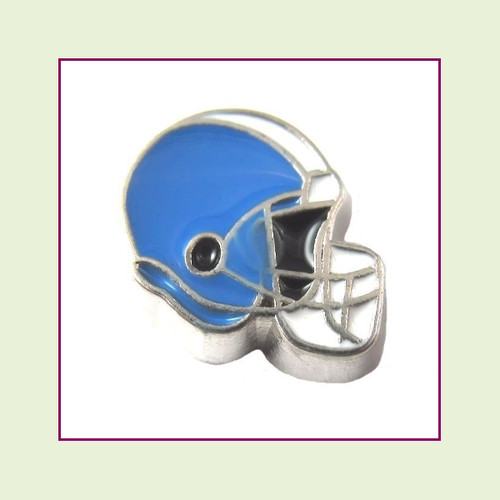 Football Helmet - Sky Blue with White Stripe (Silver Base) Floating Charm