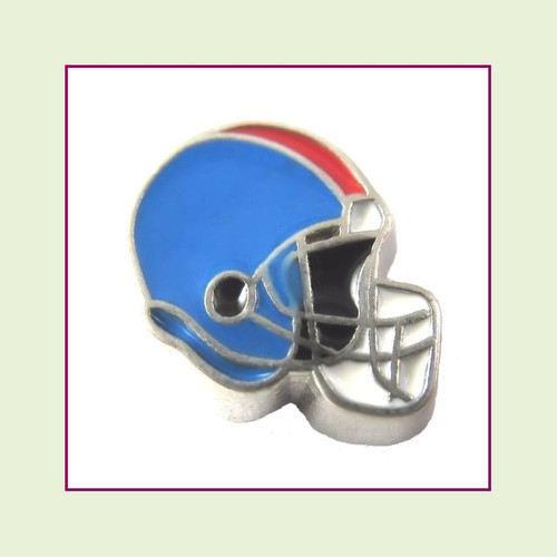 Football Helmet - Sky Blue with Red Stripe (Silver Base) Floating Charm