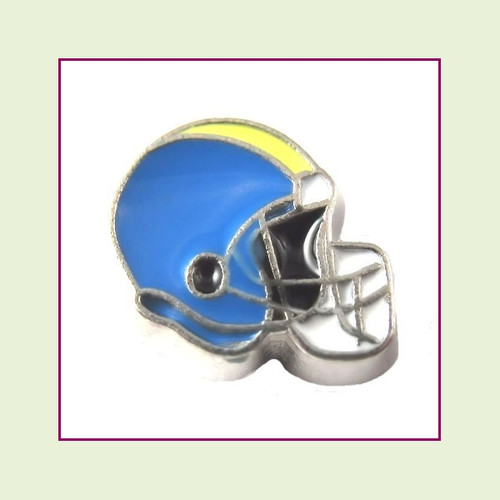 Football Helmet - Sky Blue with Yellow Stripe (Silver Base) Floating Charm