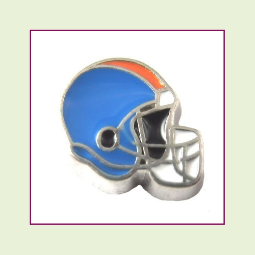 Football Helmet - Sky Blue with Orange Stripe (Silver Base) Floating Charm