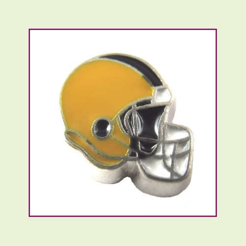 Football Helmet - Gold with Black Stripe (Silver Base) Floating Charm