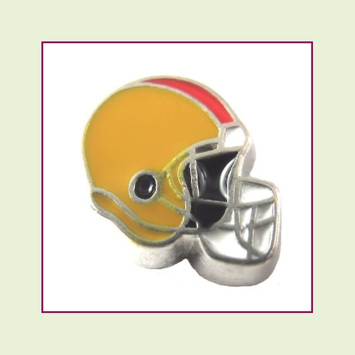 Football Helmet - Gold with Red Stripe (Silver Base) Floating Charm