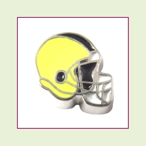 Football Helmet - Yellow with Black Stripe (Silver Base) Floating Charm