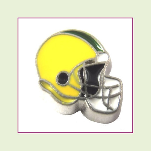 Football Helmet - Yellow with Green Stripe (Silver Base) Floating Charm