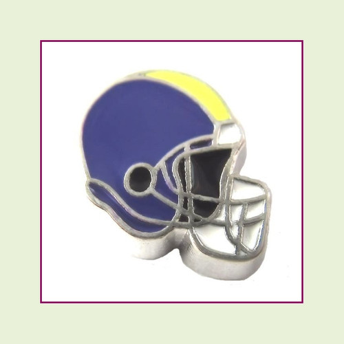 Football Helmet - Purple with Yellow Stripe (Silver Base) Floating Charm