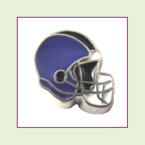 Football Helmet - Purple with Black Stripe (Silver Base) Floating Charm