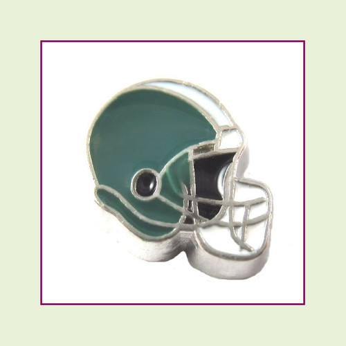 Football Helmet - Teal with Light Gray Stripe (Silver Base) Floating Charm