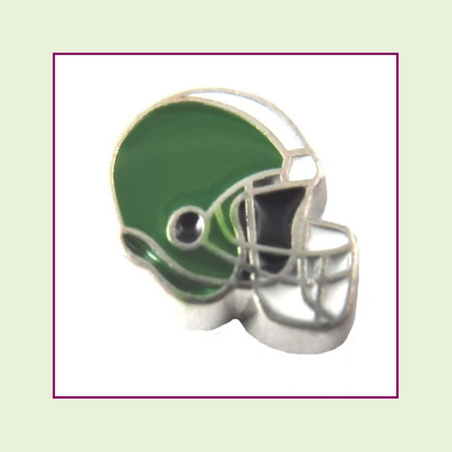 Football Helmet - Green with White Stripe (Silver Base) Floating Charm