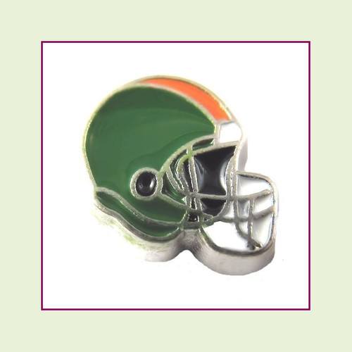 Football Helmet - Green with Orange Stripe (Silver Base) Floating Charm