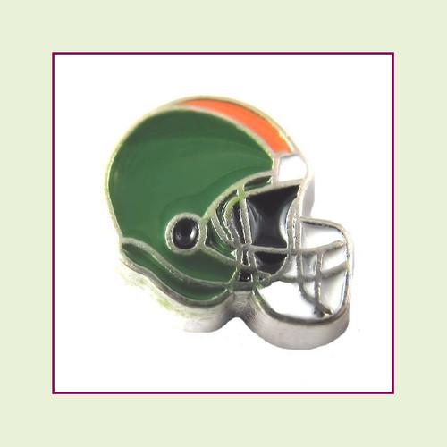Football Helmet - Green with Orange Stripe (Silver Base) Floating Charm