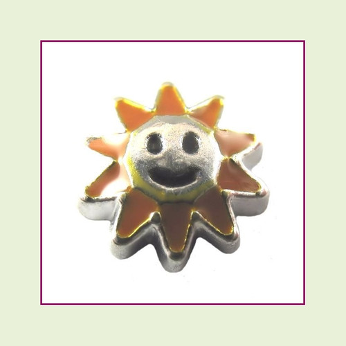Happy Sunflower (Silver Base) Floating Charm