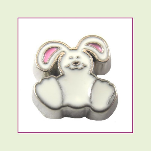 Floppy Ear Bunny (Silver Base) Floating Charm