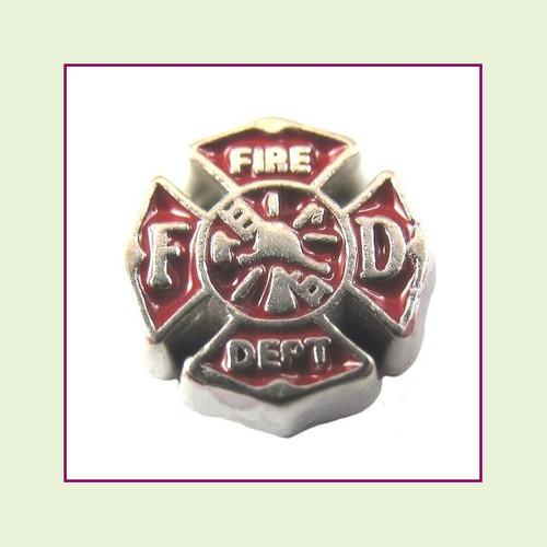 Fire Dept Emblem (Silver Base) Floating Charm