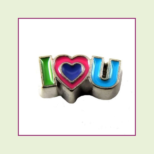 I Love U Colorful (Silver Base) Floating Charm