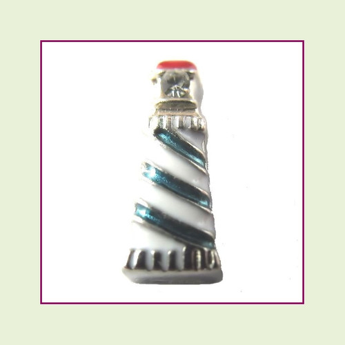 Lighthouse Blue and White (Silver Base) Floating Charm