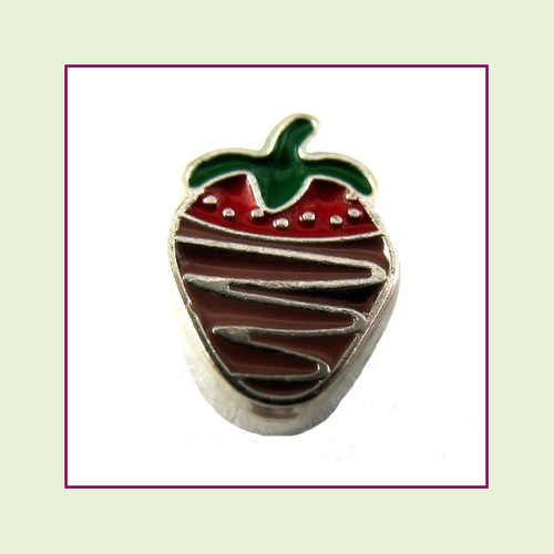 Chocolate Covered Strawberry (Silver Base) Floating Charm