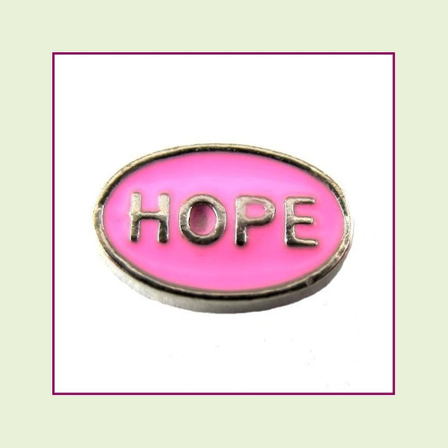 Hope on Pink Oval (Silver Base) Floating Charm