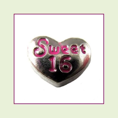 Sweet 16 on Silver Heart Floating Charm