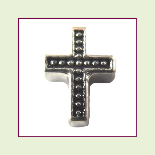 Cross Black Beaded (Silver Base) Floating Charm