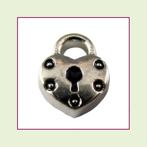 Heart Lock #2 Silver Floating Charm