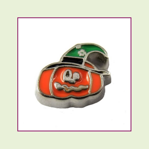 Pumpkin with Witch Hat (Silver Base) Floating Charm