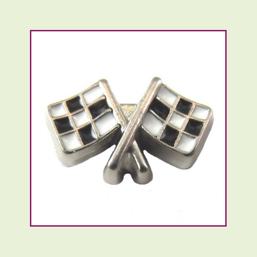 Race Checkered Flags (Silver Base) Floating Charm
