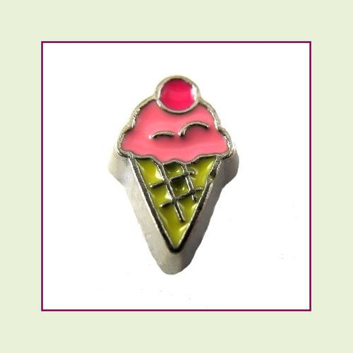 Ice Cream Cone Pink (Silver Base) Floating Charm