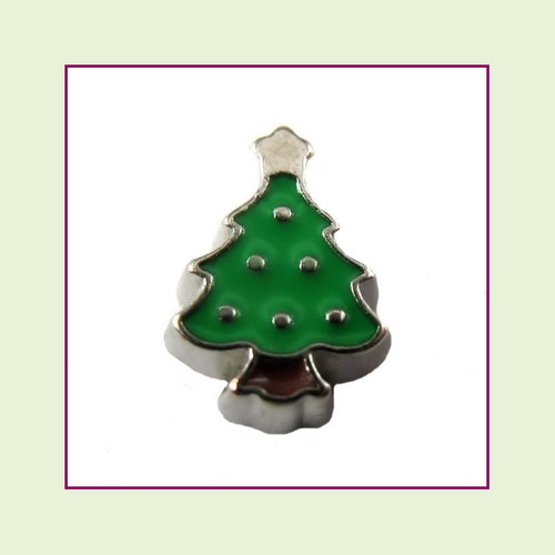 Christmas Tree #2 Plain (Silver Base) Floating Charm