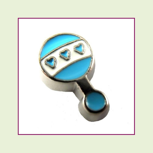 Baby Rattle Blue (Silver Base) Floating Charm