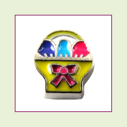 Easter Basket Yellow (Silver Base) Floating Charm