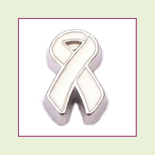 Awareness Ribbon - White (Silver Base) Floating Charm