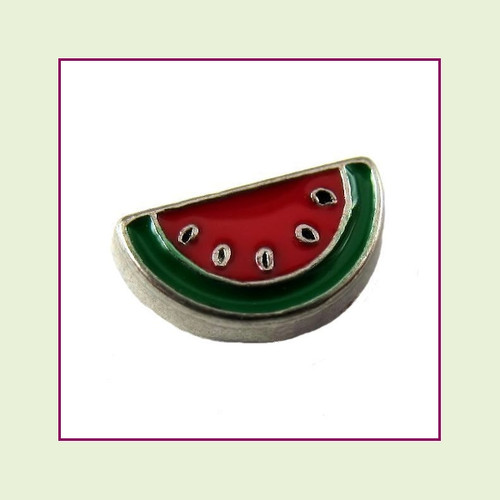 Watermelon Slice (Silver Base) Floating Charm