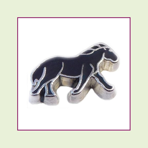 Horse Black (Silver Base) Floating Charm
