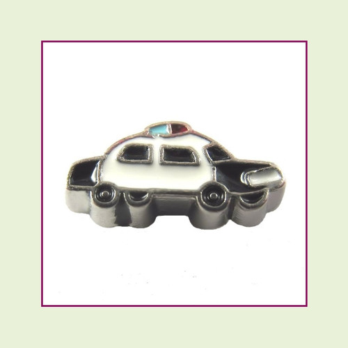 Police Car (Silver Base) Floating Charm