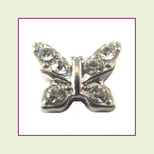 Butterfly Silver with Clear CZ Stones Floating Charm
