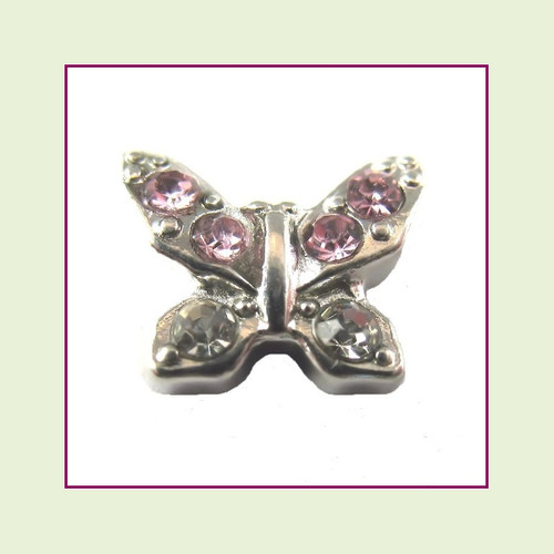 Butterfly Silver with Pink CZ Stones Floating Charm