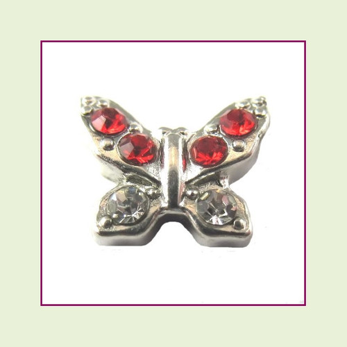 Butterfly Silver with Red CZ Stones Floating Charm