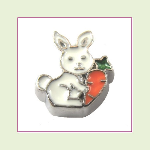 Bunny with Carrot (Silver Base) Floating Charm