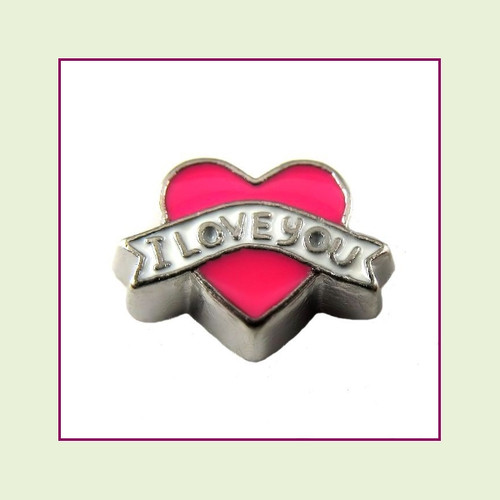 I Love You on Pink Heart (Silver Base) Floating Charm