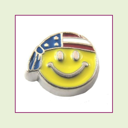 Patriotic Smiley Face (Silver Base) Floating Charm