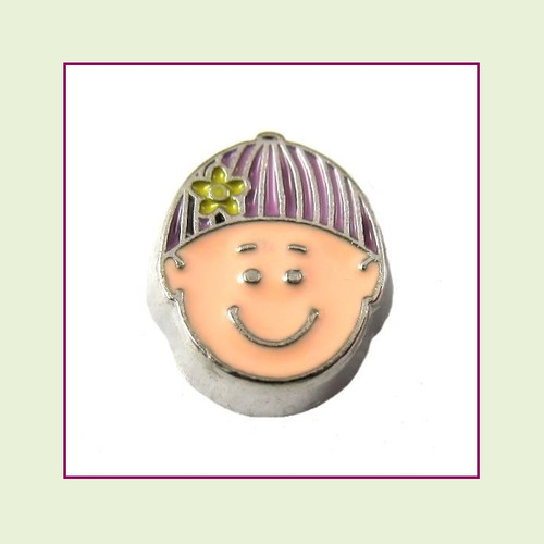 Girl #1 Baby with Pink Beanie Cap (Silver Base) Floating Charm