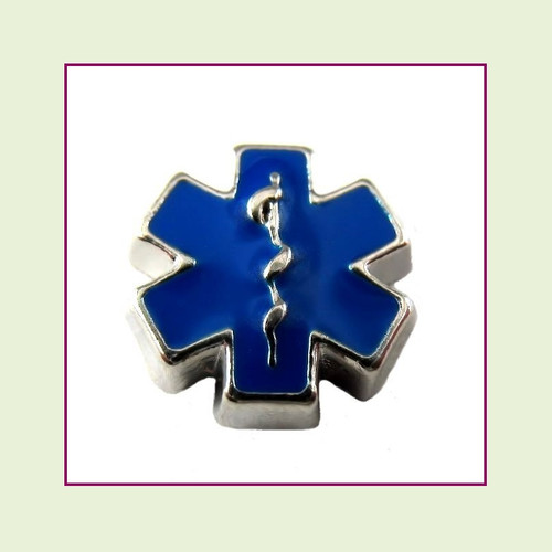 Medical Alert Symbol Blue (Silver Base) Floating Charm